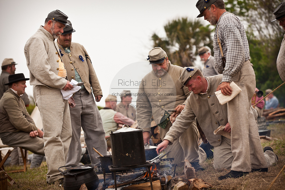 Confederate re-enactor prepare a meal at Fort Moultrie Charleston, SC. The re-enactors are part of the 150th commemoration of the US Civil War.