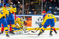 KELOWNA, BC - DECEMBER 18: Samuel Ersson #30 of Team Sweden makes a save against Team Russia  at Prospera Place on December 18, 2018 in Kelowna, Canada. (Photo by Marissa Baecker/Getty Images)***Local Caption***