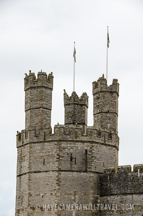 One of the parapets at Caernarfon Castle in northwest Wales. A castle originally stood on the site dating back to the late 11th century, but in the late 13th century King Edward I commissioned a new structure that stands to this day. It has distinctive towers and is one of the best preserved of the series of castles Edward I commissioned.