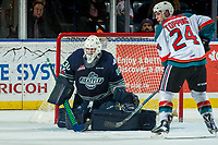 KELOWNA, CANADA - JANUARY 5: Liam Hughes #30 of the Seattle Thunderbirds makes a save against the Kelowna Rockets on January 5, 2017 at Prospera Place in Kelowna, British Columbia, Canada.  (Photo by Marissa Baecker/Shoot the Breeze)  *** Local Caption ***