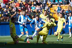 February 3, 2019 - Vila-Real, Castellon, Spain - Alvaro Gonzalez of Villarreal and Alex Lopez of RCD Espanyol during the La Liga match between Villarreal and Espanyol at Estadio de la Ceramica on February 3, 2019 in Vila-real, Spain. (Credit Image: © AFP7 via ZUMA Wire)