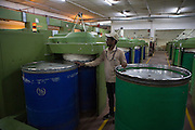 Organic cotton being spun at Pratibha Syntax factory, where organic cotton is being used to make clothes, Indore, India.