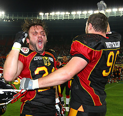 07.06.2014, Ernst Happel Stadion, Wien, AUT, American Football Europameisterschaft 2014, Finale, Oesterreich (AUT) vs Deutschland (GER), im Bild Jubel von Fabien Gaertner, (Team Germany, RB, #22) und Maximilian Wild, (Team Germany, DL, #90) // during the American Football European Championship 2014 final game between Austria and Denmark at the Ernst Happel Stadion, Vienna, Austria on 2014/06/07. EXPA Pictures © 2014, PhotoCredit: EXPA/ Thomas Haumer