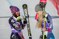 20.01.2018, Olympia delle Tofane, Cortina d Ampezzo, ITA, FIS Weltcup Ski Alpin, Abfahrt, Damen, im Bild Tina Weirather (LIE, 2. Platz), Siegerin Lindsey Vonn (USA) // 2nd placed Tina Weirather of Liechtenstein, Winner Lindsey Vonn of the USA, during the Winner Award Ceremony of ladie' s downhill of the Cortina FIS Ski Alpine World Cup at the Olympia delle Tofane course in Cortina d Ampezzo, Italy on 2018/01/20. EXPA Pictures © 2018, PhotoCredit: EXPA/ Dominik Angerer