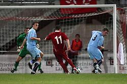 Vauz Franz Burgmeier scores the second goal.<br /> Vaduz 2 v 0 Falkirk FC at the Rheinpark Stadium for their Europa League second-round qualifier against Vaduz in Liechtenstein.<br /> ©2009 Michael Schofield. All Rights Reserved.