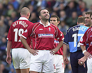 Nationwide Division 2 27-10-2001.Wycombe Wanderers FC v Swindon Town FC:.Neil Ruddock, smiles at the home supporters calls.... ...........