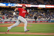 Albert Pujols looks good as he runs to first during the Angels' Freeway Series game against the Dodgers Thursday night at Dodger Stadium.<br /> <br /> ///ADDITIONAL INFO:   <br /> <br /> freeway.0401.kjs  ---  Photo by KEVIN SULLIVAN / Orange County Register  --  3/31/16<br /> <br /> The Los Angeles Angels take on the Los Angeles Dodgers at Dodger Stadium during the Freeway Series Thursday.<br /> <br /> <br />  3/31/16