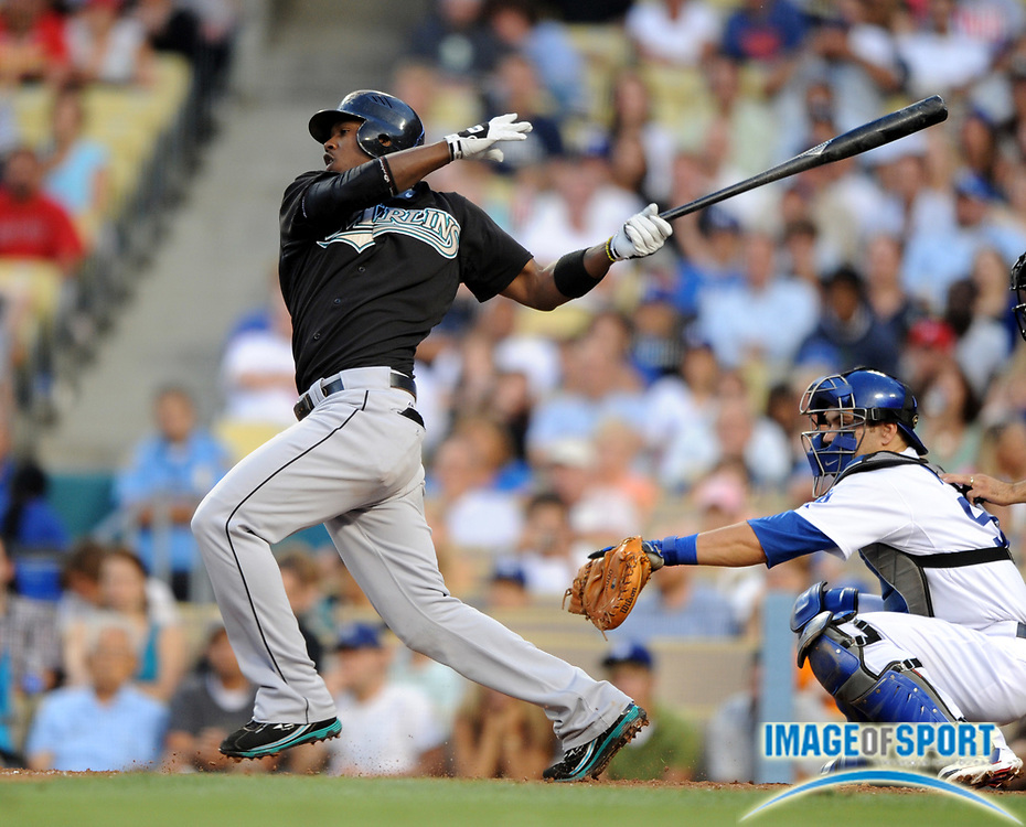Jul 12, 2008; Los Angeles, CA, USA; Florida Marlins shortstop Hanley Ramirez (2) bats during game against the Los Angeles Dodgers at Dodger Stadium.