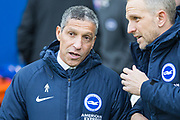 Chris Hughton, Manager of Brighton & Hove Albion FC & Paul Trollope, Assistant Manager of Brighton & Hove Albion FC during the Premier League match between Brighton and Hove Albion and Watford at the American Express Community Stadium, Brighton and Hove, England on 2 February 2019.