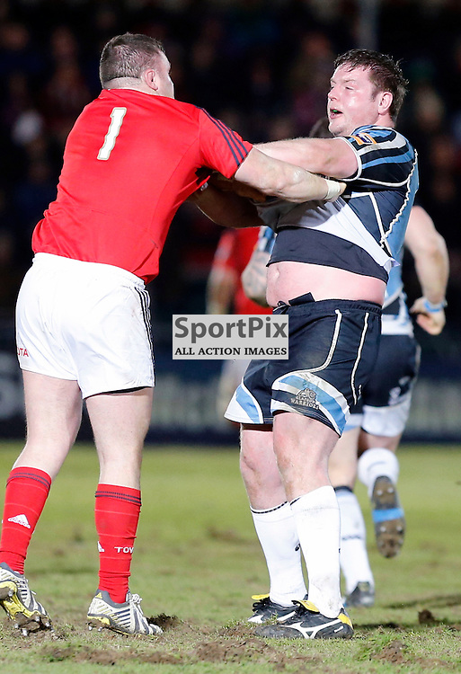 GLASGOW WARRIORS V MUNSTER RaboDirect Pro12 ...Jon Welsh (Warriors) has words with Dave Kilcoyne (Munster).....(c) STEPHEN LAWSON | StockPix.eu