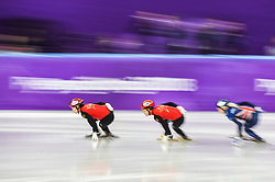 February 17, 2018 - Pyeongchang, Gangwon, South Korea - Li Jinyu of  China competing in 1500 meter speed skating for women at Gangneung Ice Arena, Gangneung, South Korea on 17 February 2018. (Credit Image: © Ulrik Pedersen/NurPhoto via ZUMA Press)