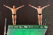 Tom Daley of Great Britain (left) and Matty Lee of Great Britain in the Men's Syncronised 10m dive during the FINA/CNSG Diving World Series 2019 at London Aquatics Centre, London, United Kingdom on 17 May 2019.