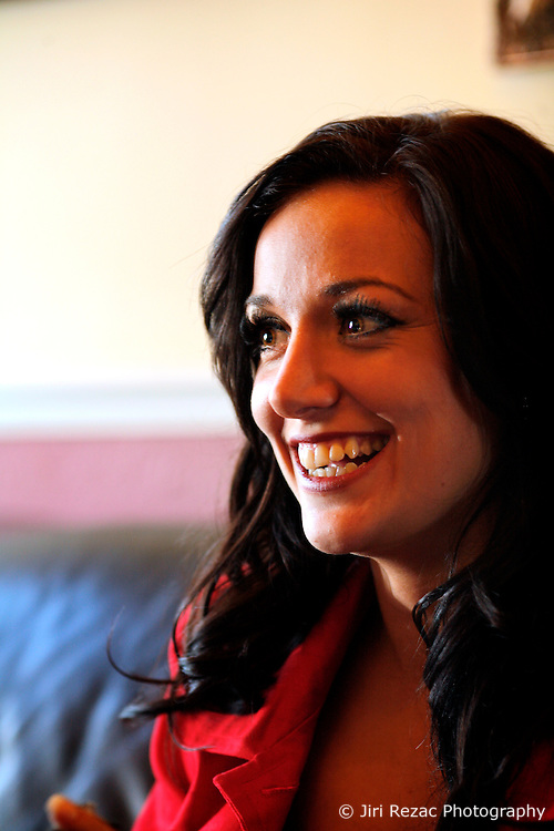 UK ENGLAND MORECAMBE 10FEB10 - Miss England, Katrina Hodge (22) reacts during a local newspaper interview in Morecambe, Lancashire. Katrina Hodge is on a week-long tour to promote the beauty pageant and careers at the armed forces in northern England...jre/Photo by Jiri Rezac..© Jiri Rezac 2010
