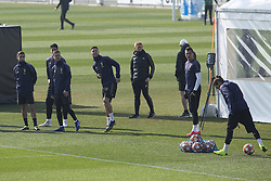 February 19, 2019 - Turin, Piedmont, Italy - From left: Paulo Dybala, Sami Khedira, Miralem Pjanic, Mario Mandzukic and \Martin Caceres during the training on the eve of the first leg of eighth of final of UEFA Champions League match between Atletico Madrid and Juventus FC at Juventus Training Center on February 19, 2019 in Turin, Italy. (Credit Image: © Massimiliano Ferraro/NurPhoto via ZUMA Press)