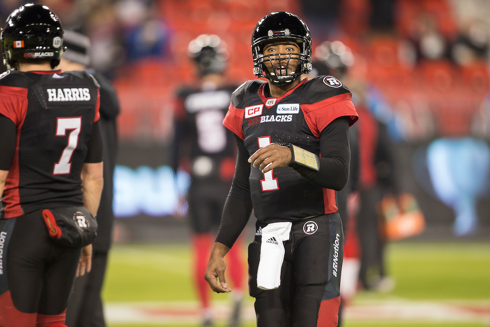 Ottawa Redblacks quarterback Henry Burris warms up before the 104th Grey Cup against the Calgary Stampeders  in Toronto Ontario, Sunday,  November 27, 2016.  (CFL PHOTO - Geoff Robins)