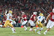 PALO ALTO, CA - SEPTEMBER 23:  K.J. Costello #3 of the Stanford Cardinal attempts a pass during an NCAA Pac-12 football game against the UCLS Bruins on September 23, 2017 at Stanford Stadium in Palo Alto, California.  (Photo by David Madison/Getty Images)