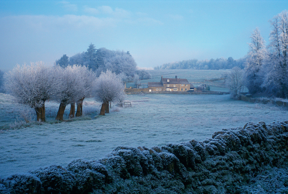 Hoar frost landscape at Swinbrook in The Cotswolds, Oxfordshire, England
