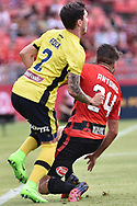 February 12, 2017: Central Coast Mariners defender Storm ROUX (2) and Western Sydney Wanderers Terry ANTONIS (24) battle for the ball at Round 19 of the 2017 Hyundai A-League match, between Western Sydney Wanderers and Central Coast Mariners played at Spotless Stadium in Sydney.