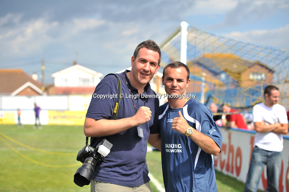 Leigh Dawney (photographer) & Kevin Mitchell at The Indee Rose Charity Football Tournament at Canvey Island Football Club on 25th July 2010. www.theindeerosetrust.org. Photo credit: © Leigh Dawney