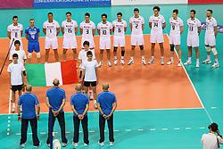 L'ITALIA DURANTE L'INNO.ITALIA - FINLANDIA.PALLAVOLO TORNEO QUALIFICAZIONE OLIMPICA VOLLEY 2012.SOFIA (BULGARIA) 08-05-2012.FOTO GALBIATI - RUBIN