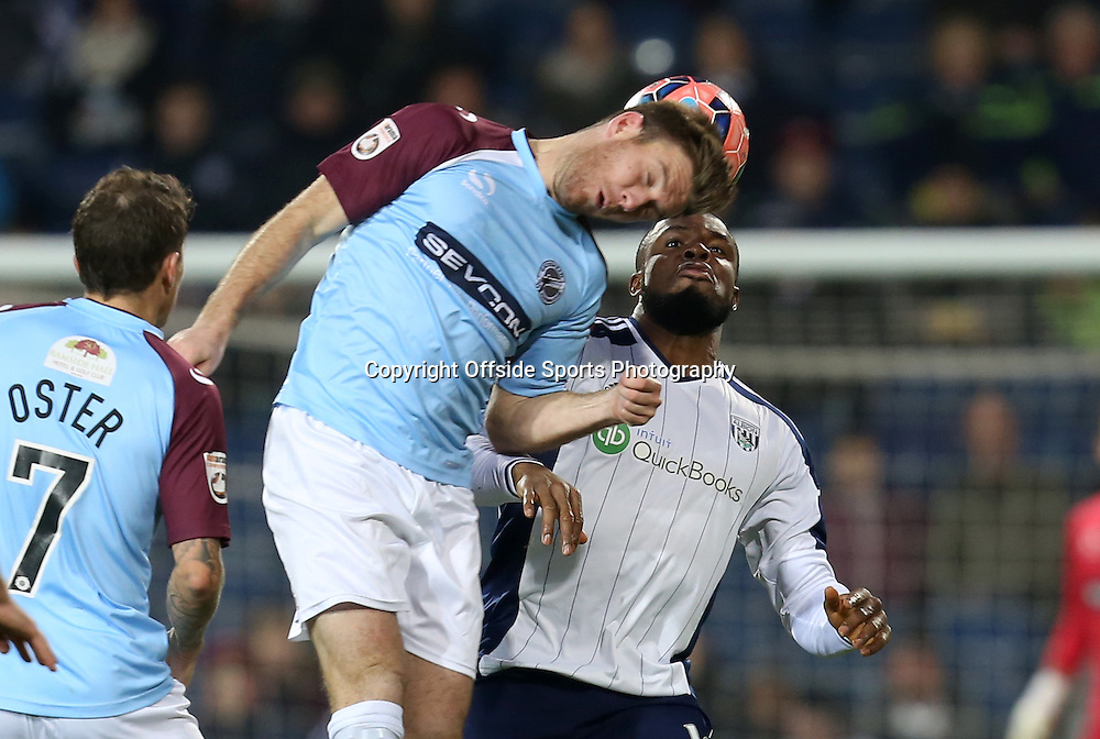 3rd January 2015 - FA Cup 3rd Round - West Bromwich Albion v Gateshead - Victor Anichebe of West Bromwich Albion looses out to Alex Rodman of Gateshead - Photo: Paul Roberts / Offside.
