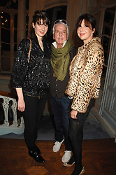 Left to right, LADY SOPHIE HAMILTON, NICKY HASLAM and HENRIETTA CHANNON at a party to celebrate the publication of 101 World Heroes by Simon Sebag-Montefiore at The Savile Club, 69 Brook Street, London W1 on 9th October 2007.<br />