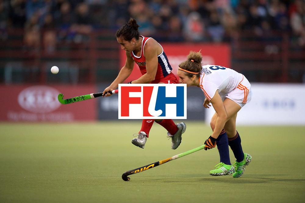 SANTIAGO - 2016 8th Women's Hockey Junior World Cup<br /> USA v NED (Pool A)<br /> foto: Laura Hurff and Yentl Leemans <br /> FFU PRESS AGENCY COPYRIGHT FRANK