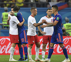 KAZAN, June 24, 2018  Players of Poland and Colombia greet each other after the 2018 FIFA World Cup Group H match between Poland and Colombia in Kazan, Russia, June 24, 2018. Colombia won 3-0. (Credit Image: © He Canling/Xinhua via ZUMA Wire)