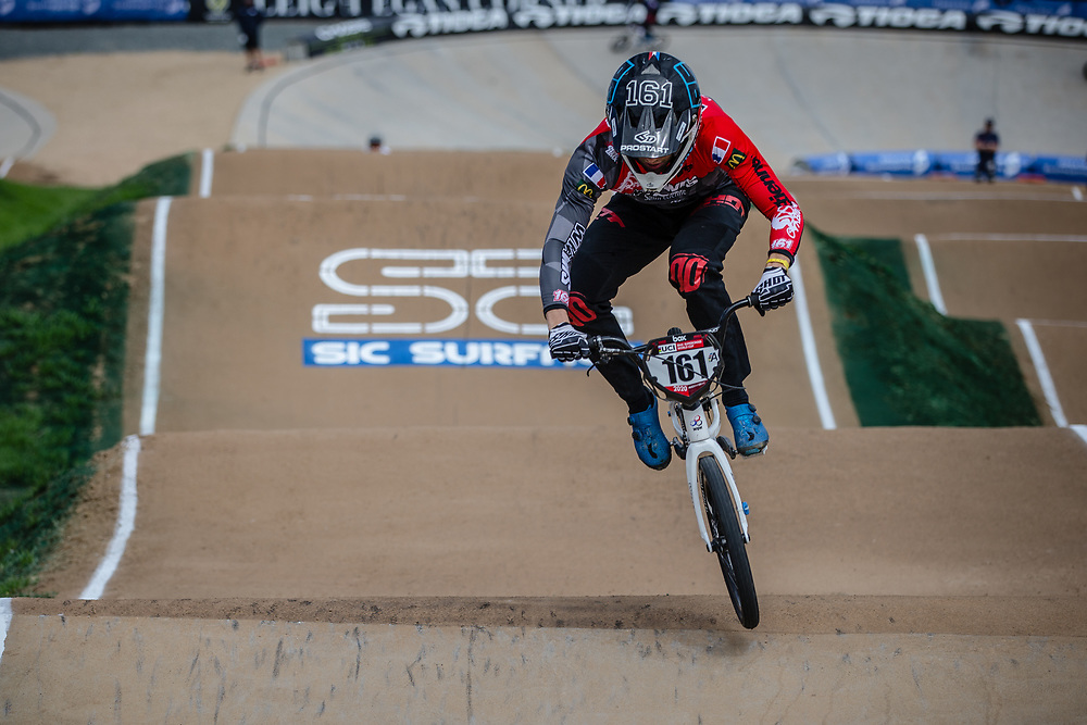 #161 (RAGOT RICHARD Mathis) FRA at Round 2 of the 2020 UCI BMX Supercross World Cup in Shepparton, Australia.