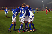 Photo: Paul Thomas.<br /> Chesterfield Town v Charlton Athletic. Carling Cup. 07/11/2006.<br /> <br /> Caleb Forlan (16) and his Chesterfield team mates celebrate his goal.