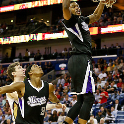 Mar 7, 2016; New Orleans, LA, USA; Sacramento Kings forward Rudy Gay (8) dunks against the New Orleans Pelicans during the second quarter of a game at the Smoothie King Center. Mandatory Credit: Derick E. Hingle-USA TODAY Sports