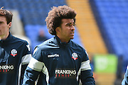 Bolton Wanderers Defender, Derik Osede warms up  during the Sky Bet Championship match between Bolton Wanderers and Hull City at the Macron Stadium, Bolton, England on 30 April 2016. Photo by Mark Pollitt.