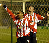Photo: Richard Lane.<br /> Birmingham City v Sunderland. FA Cup 5th Round Replay. 25/02/2004.<br /> Jeff Whitley and Paul Thirwell celebrate Tommy Smith's first goal.