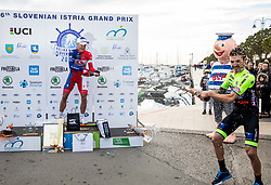 Winner Marko Kump of Adria Mobil and third placed Davide Gabburo of Neri Sottoli Selle Italia KTM celebrate at trophy ceremony after the cycling race 6. VN Slovenske Istre / 6th Slovenian Istra Grand Prix, on February 24, 2019 in Izola/ Isola, Slovenia. Photo by Vid Ponikvar / Sportida