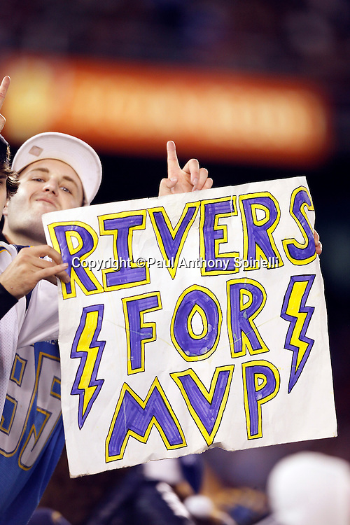 A San Diego Chargers fan holds up a sign nominating San Diego Chargers quarterback Philip Rivers (17) for MVP during the NFL week 15 football game against the San Francisco 49ers on Thursday, December 16, 2010 in San Diego, California. The Chargers won the game 34-7. (©Paul Anthony Spinelli)