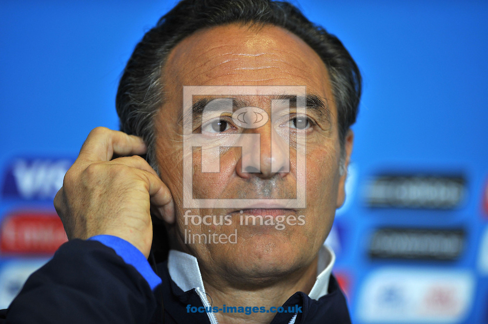 Italy head coach Cesare Prandelli during a press conference at Arena das Dunas, Natal<br /> Picture by Stefano Gnech/Focus Images Ltd +39 333 1641678<br /> 23/06/2014