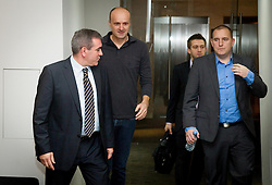 Roman Volcic, Jure Zdovc, Anze Blazic and Matej Avanzo during press conference of KZS when was Jure Zdovc presented as a new head coach of Slovenia basketball team on January 15, 2014 in Hotel Plaza,  Ljubljana, Slovenia. Photo by Vid Ponikvar / Sportida