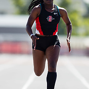 23 March 2018: Kiana Hunter competes in the 200 meter dash open event Friday afternoon at the 40th Annual Aztec Invitational.<br /> More game action at sdsuaztecphotos.com