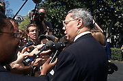 Gen. Colin Powell speaks to the media during a White House event April 4,1997 in Washington, DC.