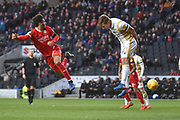 Swindon Town forward Keshi Anderson (10) heads the ball at goal during the EFL Sky Bet League 2 match between Milton Keynes Dons and Swindon Town at stadium:mk, Milton Keynes, England on 9 February 2019.