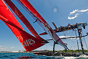 Emirates Team New Zealand capsizes during the America's Cup Series event in Newport, Rhode island.