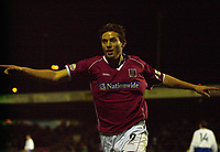 © Peter Spurrier/Sportsbeat Images <br />Tel + 441494783165 email images@sbimages.co.uk<br />06/12/2003 - Photo  Peter Spurrier<br />FA Cup 2nd Rd - Northampton v Weston S Mare<br />Marc Richards celebrates his first goal for Northampton in their 4 - 1 victory over Weston.