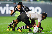 HONG KONG - APRIL 10: Osea Kolinisau of Fiji competes during Cup Final the 2016 Hong Kong Sevens match between Fiji and New Zealand at Hong Kong Stadium on April 10, 2016 in Hong Kong.  (Photo by Juan Manuel Serrano Arce/Getty Images)