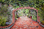 Brick arch and courtyard in Laguna Beach