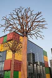 Steel tree sculpture at new Boxpark retail development in Dubai United Arab Emirates