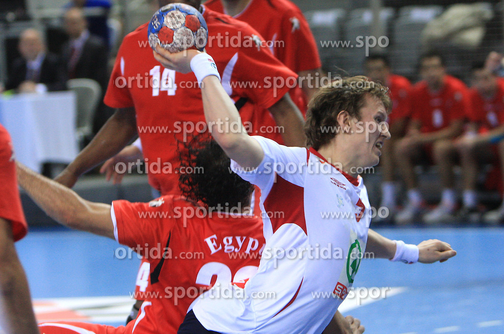 Frank Loke of Norway during 21st Men's World Handball Championship preliminary Group D match between Norway and Egypt, on January 19, 2009, in Arena Zatika, Porec, Croatia. Win of Norway 30:20.(Photo by Vid Ponikvar / Sportida)