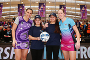 ANZ Future Captains Anahera Mason-Wells aged 14 and Tatiana Mason-Wells aged 13 pose for a photo with Grace Kara of the Stars and Wendy Frew of the Steel prior to the match. 2018 ANZ Premiership netball match, Stars v Steel at Pulman Arena, Auckland, New Zealand. 29 July 2018 © Copyright Photo: Anthony Au-Yeung / www.photosport.nz