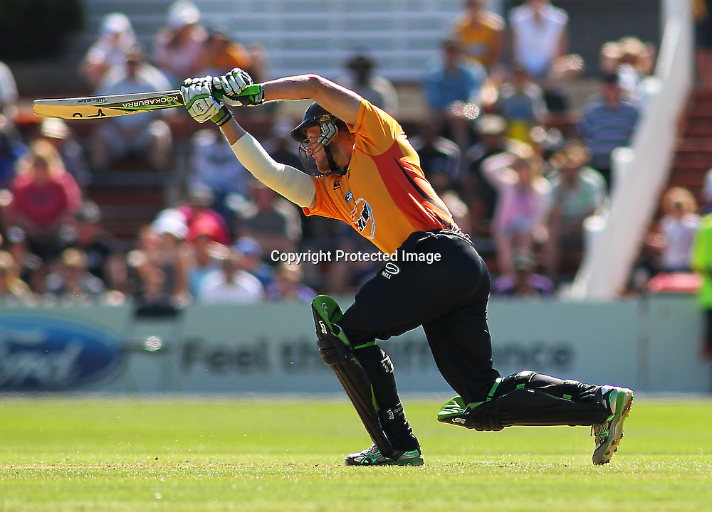 Harry Boam batting during their Twenty20 Cricket match - HRV Cup, Wellington Firebirds v Central Stags, 27 December 2011, Hawkins Basin Reserve, Wellington. . PHOTO: Grant Down / photosport.co.nz