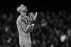 April 18, 2018 - Valencia, Valencia, Spain - (EDITORS NOTE: the image has been converted to black and white) Jaume Domenech of Valencia CF reacts during the La Liga game between Valencia CF and Getafe CF at Mestalla on April 18, 2018 in Valencia, Spain  (Credit Image: © David Aliaga/NurPhoto via ZUMA Press)