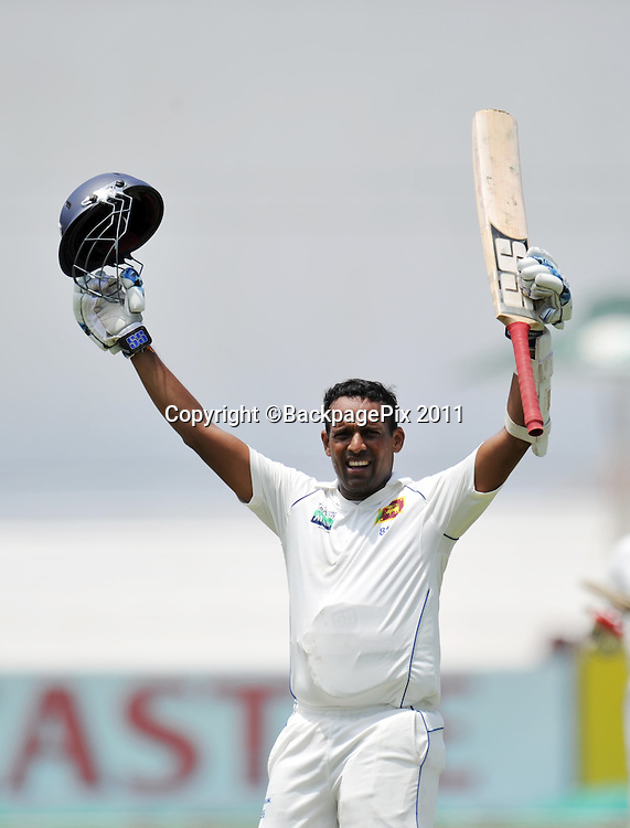 Thilan Samaraweera  , Sri Lanka celebrates reaching 100 runs <br /> <br /> &copy; Sabelo Mngoma/BackpagePix